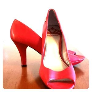 Red Peep-Toe Heels, Size 10